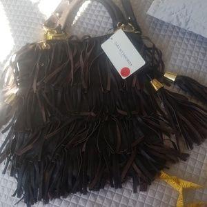 NEW leather Zara fringe bag